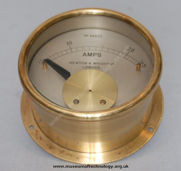NEWTON AND WRIGHT BRASS AMPMETER, 1930's