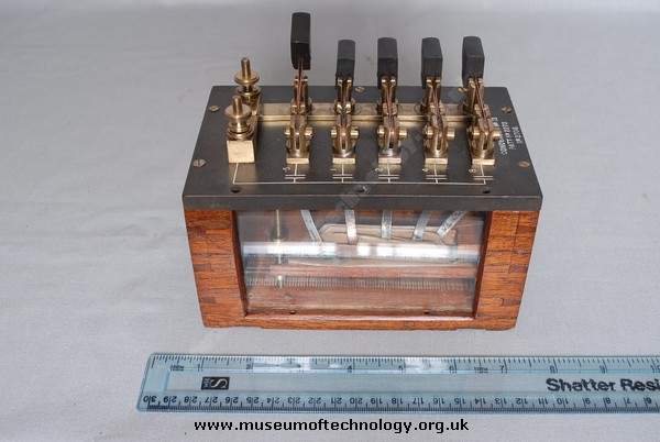 CONDENSER BANK WITH KNIFE TUNING SWITCHES, 1920's