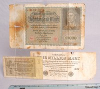 Image of GERMAN INFLATION MONEY AND ONE MILLION MARK NOTE, 1920's