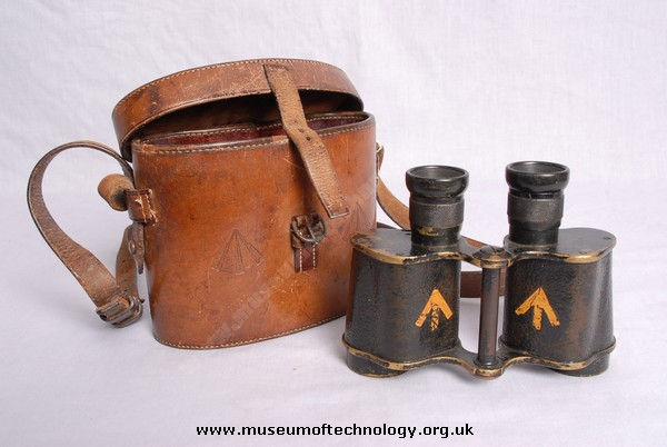 WWI BINOCULARS AND CASE