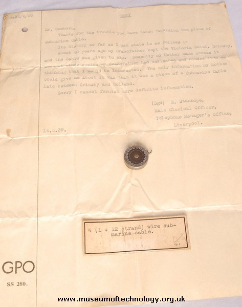 TRANSATLANTIC CABLE IN PENDANT  AND LETTER, 1866
