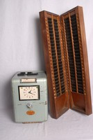 Image of WORKS CLOCKING MACHINE & CARD RACK, 1950's