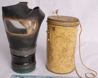 Image of WWII CHILDS GAS MASK (RESPIRATOR) IN YELLOW TIN