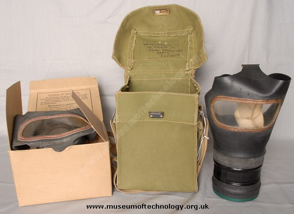 WWII ADULT CIVILIAN GAS MASK (RESPIRATOR) WITH CANVAS BAG AND BOX, 1941