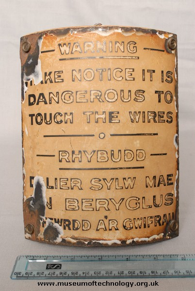 EARLY WARNING SIGN  'IT IS DANGEROUS TO TOUCH THE WIRES', 1930's