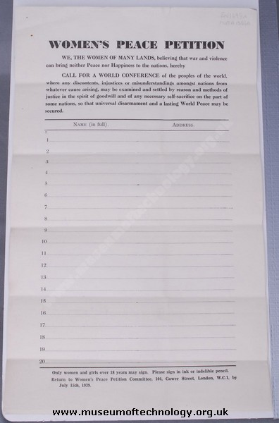 WOMENS PEACE PETITION, 1939