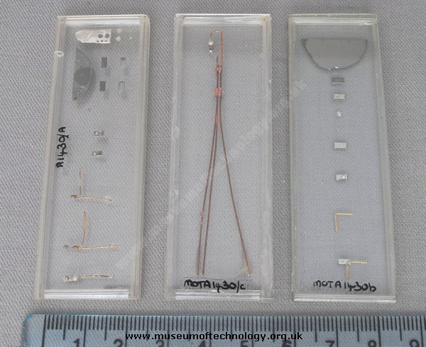 THREE MICROSCOPE SLIDES OF TRANSISTORS STRUCTURE  , 1950's