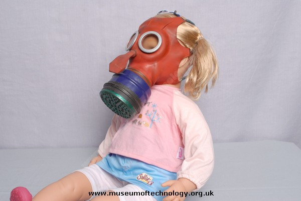 WWII MICKEY MOUSE GAS MASK ON TODDLER